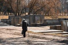 De oude vrouw is gehandicapt in het park stock afbeeldingen