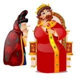 De oude vrouw overreedt de koning om te denken Karakters van Russische folklore en volksdieverhalen op witte achtergrond wordt ge vector illustratie