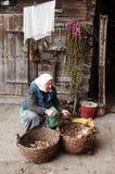 De oude vrouw snijdt aardappels Royalty-vrije Stock Foto's