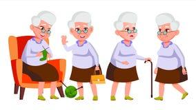 De oude Vrouw stelt Vastgestelde Vector Bejaarde mensen Hogere persoon oud Grappige Gepensioneerde leisure Prentbriefkaar, Aankon stock illustratie