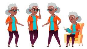 De oude Vrouw stelt Vastgestelde Vector zwart Afro Amerikaan Bejaarde mensen Hogere persoon oud Grappige Gepensioneerde leisure vector illustratie