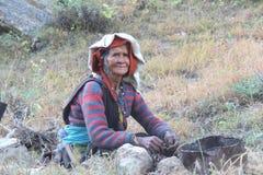 De oude Vrouw van de Berg Stock Afbeelding