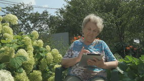 De oude vrouwenjaren '80 die een digitale tablet in openlucht houden stock videobeelden