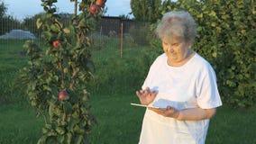 De oude vrouwenjaren '80 die een digitale tablet in openlucht houden stock video