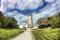 De oude vuurtoren in Ilse van Re Ile de re in Frankrijk stock afbeeldingen