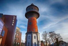 De oude watertoren is een oriëntatiepunt van de stad, het gebied van de toeristentoevlucht Royalty-vrije Stock Foto's