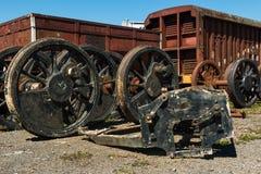 De oude wielen van de stoomtrein Royalty-vrije Stock Foto's