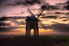 De oude Windmolen in Chesterton bij zonsondergang Stock Foto's
