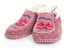 De oude Zachte Warme Pantoffels van het Bont Stock Fotografie