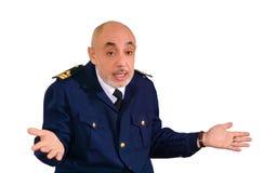 De oude zeeman weet geen wat om te antwoorden royalty-vrije stock afbeelding