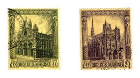 De oude zegels van S. Marino Stock Foto's