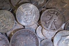 De oude Zilveren Muntstukken van de V.S. Royalty-vrije Stock Foto's