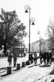 De oude zwart-witte stad van Warshau stock foto's
