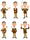 De oudere zakenman ` s 6 stelt vastgestelde frontale richting vector illustratie