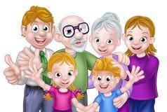 De Ouders en de Grootouders van beeldverhaaljonge geitjes royalty-vrije illustratie
