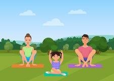 De ouders met jong geitje doet yoga diverse oefeningen De vectorillustratie van de familieyoga vector illustratie