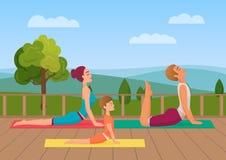 De ouders met meisjesjong geitje doet yoga diverse oefeningen De vectorillustratie van de familieyoga stock illustratie