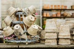 De ouderwetse ceramische potten van kleivazen Royalty-vrije Stock Foto's