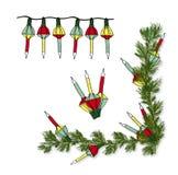 De ouderwetse Lichte Vectorreeks van de Kerstmisbel Stock Afbeelding