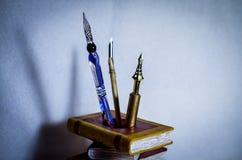 De ouderwetse wijnoogst van Quill Pen stock foto
