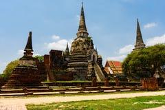 De oudste en mooiste pagode in Ayutthaya stock fotografie