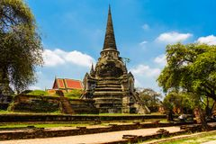 De oudste en mooiste pagode in Ayutthaya stock afbeeldingen