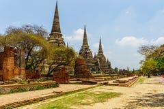 De oudste en mooiste pagode in Ayutthaya onder bomen royalty-vrije stock foto