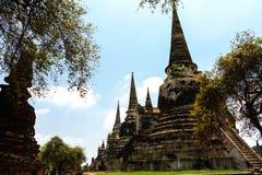 De oudste en mooiste pagode in Ayutthaya onder bomen stock afbeelding