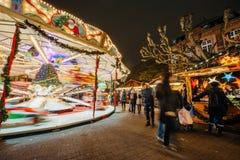 De oudste Kerstmismarkt in Europa - Straatsburg, de Elzas, Fran Stock Afbeeldingen