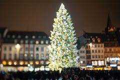 De oudste Kerstmismarkt in Europa - Straatsburg, de Elzas, Fran Stock Fotografie