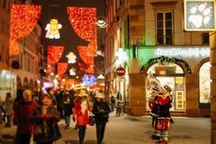 De oudste Kerstmismarkt in Europa - Straatsburg, de Elzas, Fran Stock Foto's