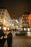 De oudste Kerstmismarkt in Europa - Straatsburg, de Elzas, Fran Stock Afbeelding