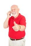De Oudste van Cellphone - Thumbsup royalty-vrije stock afbeelding