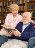 De oudsten genieten van lezend royalty-vrije stock afbeelding