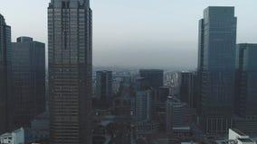 9 de outubro de 2018 Cidade de Suzhou, China Antena sobre construções de escritório para negócios modernas, arranha-céus, distrit vídeos de arquivo