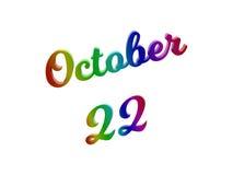 22 de outubro data do calendário do mês, 3D caligráfico rendeu a ilustração do texto colorida com inclinação do arco-íris do RGB Fotografia de Stock