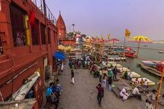 31 de outubro de 2014: Costa de Varanasi, Índia Fotos de Stock Royalty Free