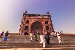 28 de outubro de 2014: Entrada a Jama Masjid Mosque em Delh novo Foto de Stock