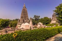 30 de outubro de 2014: Jardins do templo budista de Mahabodhi na BO Foto de Stock