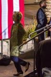 12 de outubro de 2016, o candidato presidencial Democrática Hillary Clinton anda fora da fase em Smith Center para as artes, Las  Fotografia de Stock Royalty Free