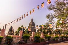 30 de outubro de 2014: Templo de Mahadobhi em Bodhgaya, Índia Fotografia de Stock