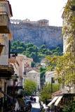 7 DE OUTUBRO DE 2018, opinião de ATENAS, GRÉCIA do Partenon da cidade velha foto de stock royalty free