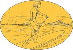 De Ovale Tekening van Dude Stand Up Paddle Board stock illustratie