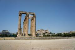 De overblijfselen van de oude Griekse gebouwen Stock Afbeeldingen
