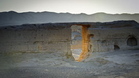 De overblijfselen van Jiaohe door zonsondergang Royalty-vrije Stock Afbeeldingen