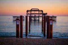 De overblijfselen van vroeger Brighton Pier royalty-vrije stock foto's