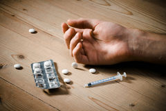 De overdosis van drugs Stock Afbeeldingen
