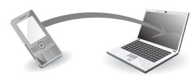De overdracht van gegevens van mobiele telefoon aan computer stock illustratie