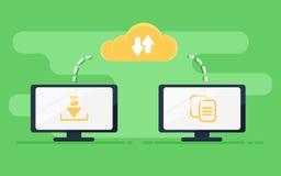De overdracht van het dossier Twee computers overgebrachte documenten vector illustratie