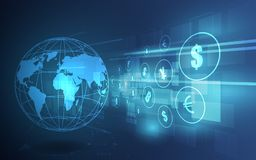 De overdracht van het geld Globale Munt Zandloper, dollar en euro Voorraad vectoril royalty-vrije illustratie